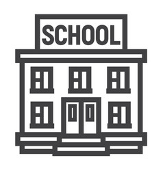 School building line icon education and learn vector