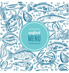 Seafood design form style vector