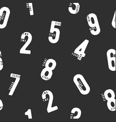 seamless black and white pattern with numbers vector image