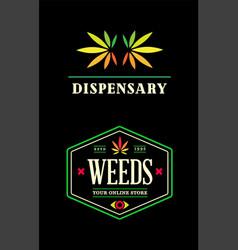 Set dispensary medical cannabis marijuana sign vector