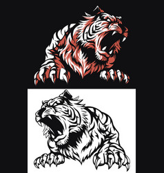 silhouette tiger roaring frontview isolated vector image