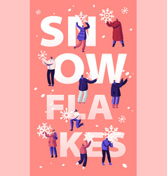 snowfall concept happy people shoveling and vector image