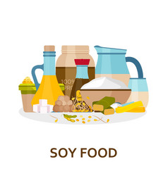 soy food background in flat style vector image