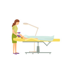 Spa procedure in beauty salon on armchair cartoon vector