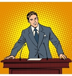 Speaker at podium lecture presentation vector
