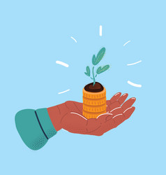 stack money and plant on vector image