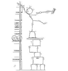stick man cartoon of man balancing on the stack vector image
