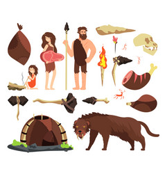 Stone age caveman hunting neolithic people vector