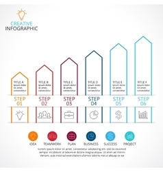 Up arrows linear infographic diagram vector