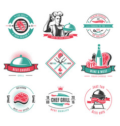 vintage colored bbq labels set vector image