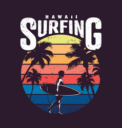 Vintage colorful hawaii surfing label vector