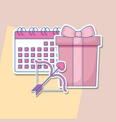 wedding celebration card with calendar vector image