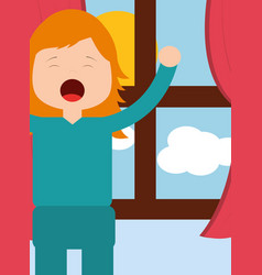 young girl waking up and stertching near window vector image
