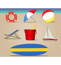 Beach Day Icons Set vector image vector image
