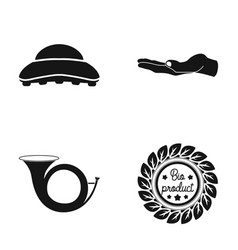 brush palm and other web icon in black style vector image vector image