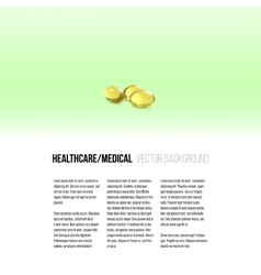 Fish oil pills isolated on green background vector image