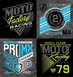 Motocross racing emblem graphic set vector image vector image