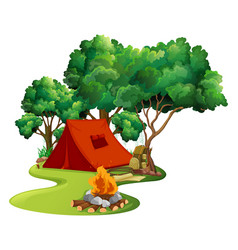 scene with red tent in the woods vector image vector image