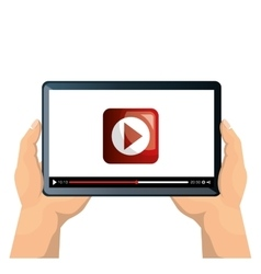 tablet on hands with online video vector image
