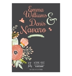 Wedding romantic floral Save the Date invitations vector image