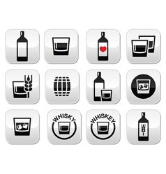 Whisky or Whiskey alcohol buttons set vector image vector image
