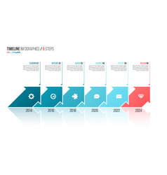 arrows shaped timeline infographic template 6 vector image