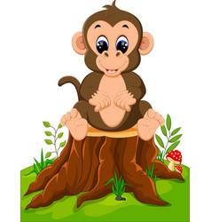cartoon happy monkey sitting on tree stump vector image vector image