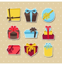 Celebration sticker icon set of colorful gift vector image