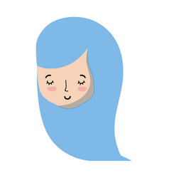 cute woman head with hairstyle design vector image