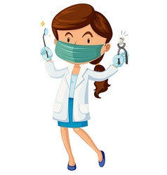 Female dentist with tooth and tools vector image