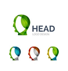 Human head logo design made of color pieces vector image