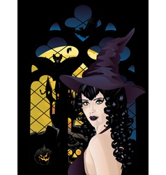 Witch near Gothic Window4 vector image