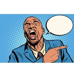 Emotional strong black man pointing finger vector image vector image