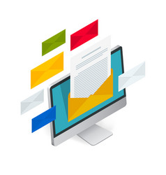incoming email isometric concept receiving vector image