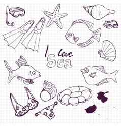 sea set of sketch vector image