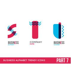 trendy alphabet icon set vector image