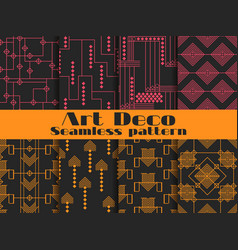 Art deco seamless patterns set retro backgrounds vector