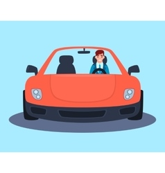 Businessman in a red sport car vector image vector image