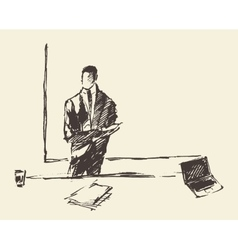 Businessman presenting concept sketch vector image vector image