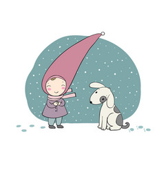 cute little gnome and the dog vector image vector image