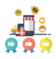 E-commerce with mobile phone with credit sale vector