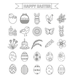 happy easter icon set line style doodle hand vector image vector image