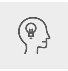 Human head with idea thin line icon vector image