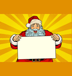 joyful santa claus with poster template vector image vector image