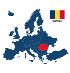 map of europe with highlighted romania vector image vector image