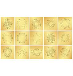 Vintage sun burst ray set on golden luxury metal vector