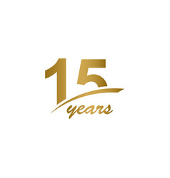 15 years anniversary elegant gold line vector
