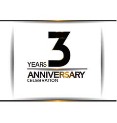 3 years anniversary black color simple design vector