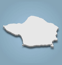 3d isometric map faial is an island in azores vector
