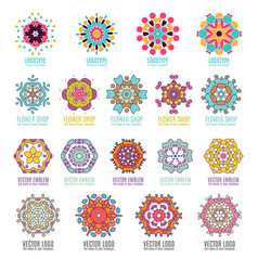 Abstract kaleidoscope geometry logo template vector